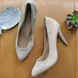 Aldo tan cream nude suede leather heel pump